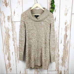 AGB Marled Tan Cable Knit Cowl Neck Sweater Dress